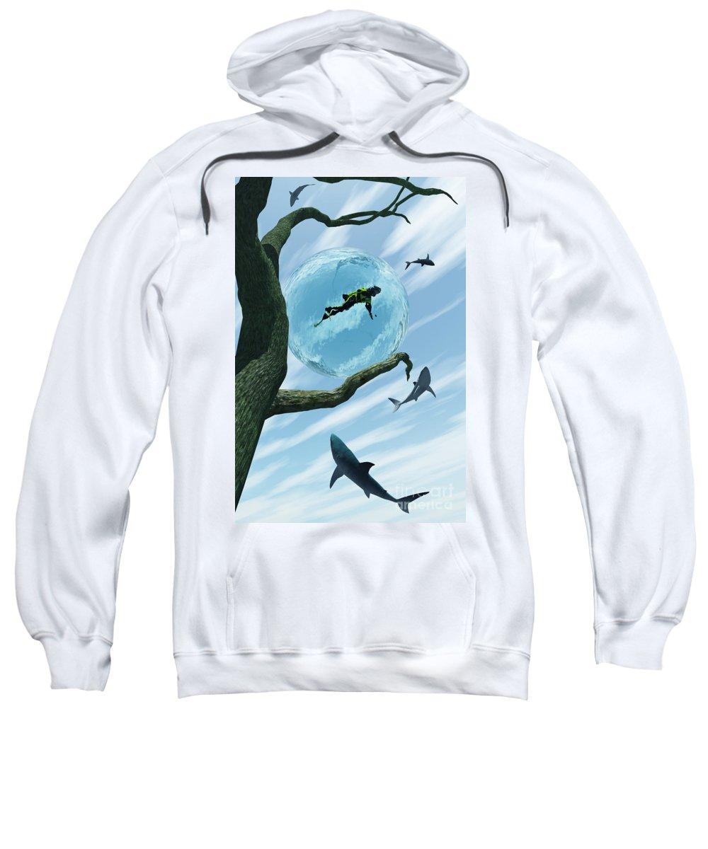 Surreal Sweatshirt featuring the digital art Bait by Richard Rizzo