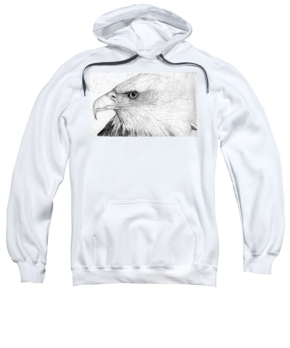 Pencil Drawing Sweatshirt featuring the drawing Bald Eagle Profile by Lucien Van Oosten