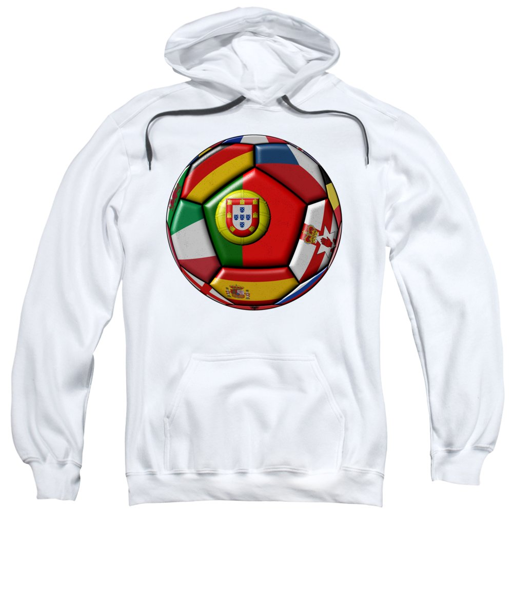 Europe Sweatshirt featuring the digital art Ball With Flag Of Portugal In The Center by Michal Boubin