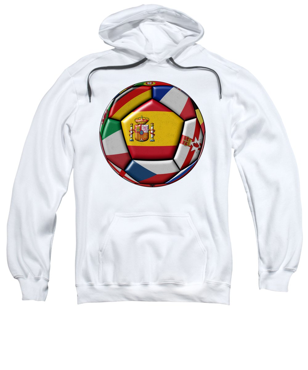 Europe Sweatshirt featuring the digital art Ball With Flag Of Spain In The Center by Michal Boubin