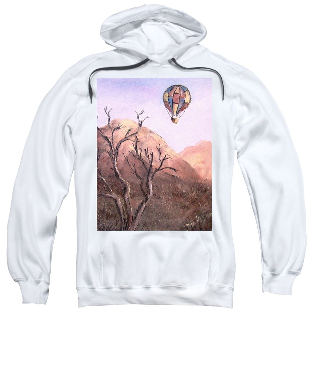 Scenery Sweatshirt featuring the painting Balloon Over Desert by Faye Tracy