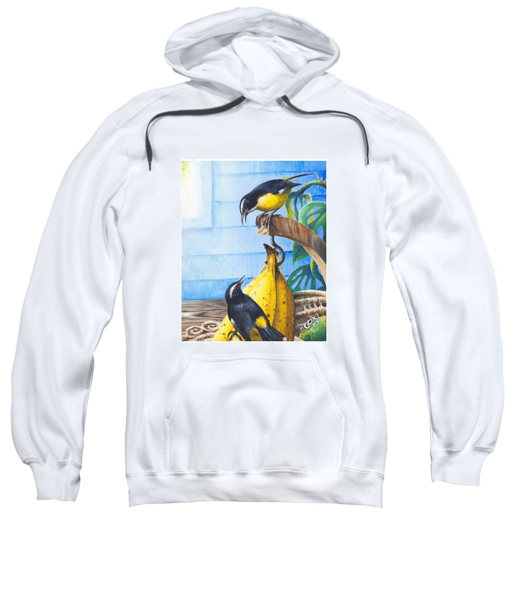 Chris Cox Sweatshirt featuring the painting Bananaquits And Bananas by Christopher Cox