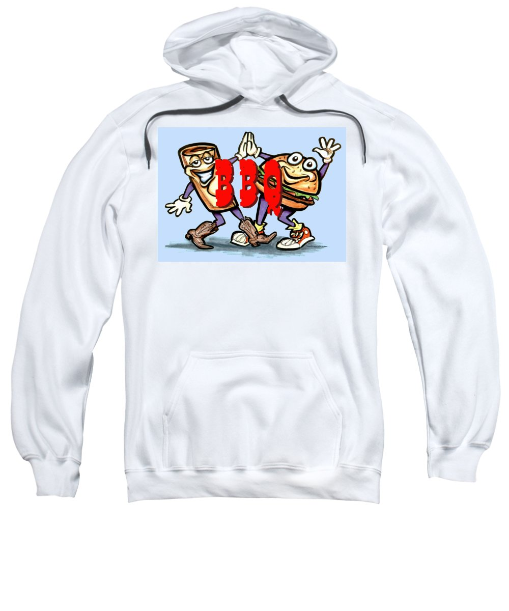 Bbq Sweatshirt featuring the greeting card Bar-b-q by Kevin Middleton