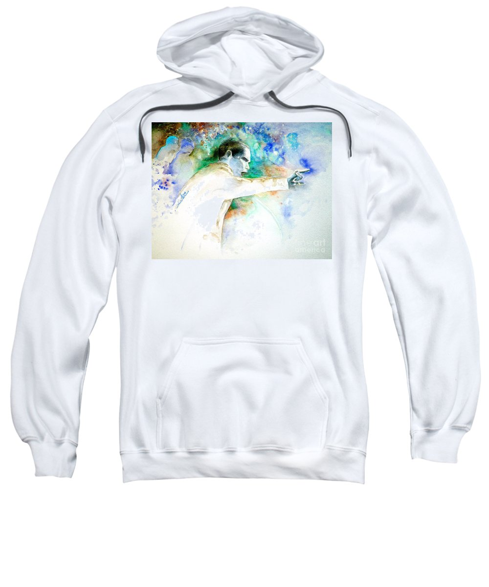 Portrait Barack Obama Sweatshirt featuring the painting Barack Obama Pointing At You by Miki De Goodaboom
