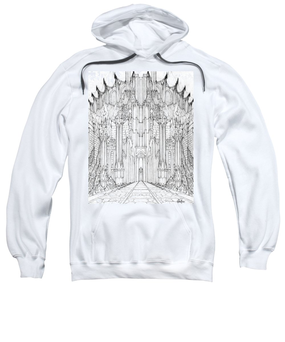 Barad-dur Sweatshirt featuring the drawing Barad-dur Gate Study by Curtiss Shaffer