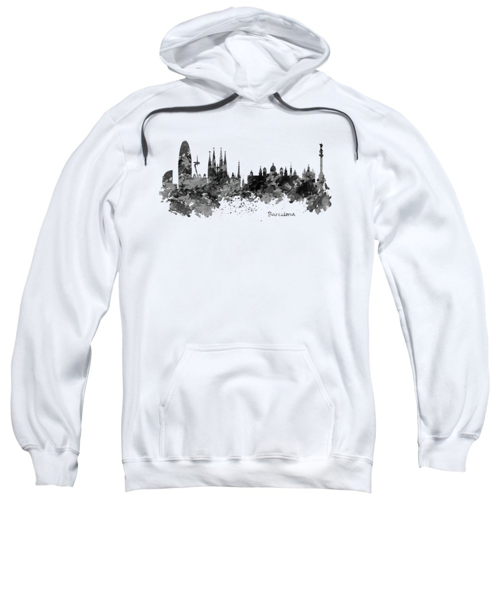 Barcelona Sweatshirt featuring the painting Barcelona Black And White Watercolor Skyline by Marian Voicu