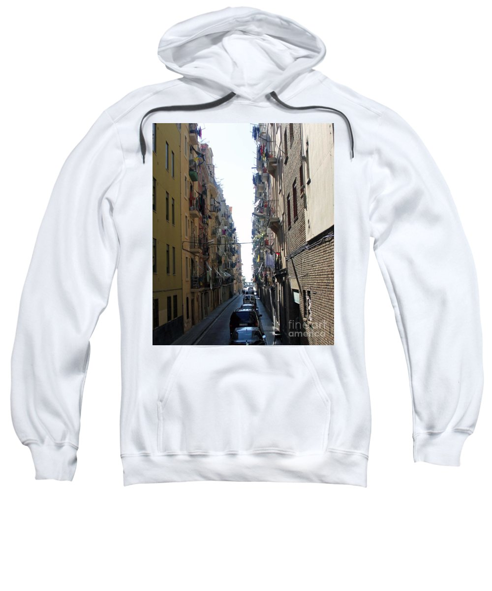 Barcelona Sweatshirt featuring the photograph Barcelona Calle Beige by Michel Poulin