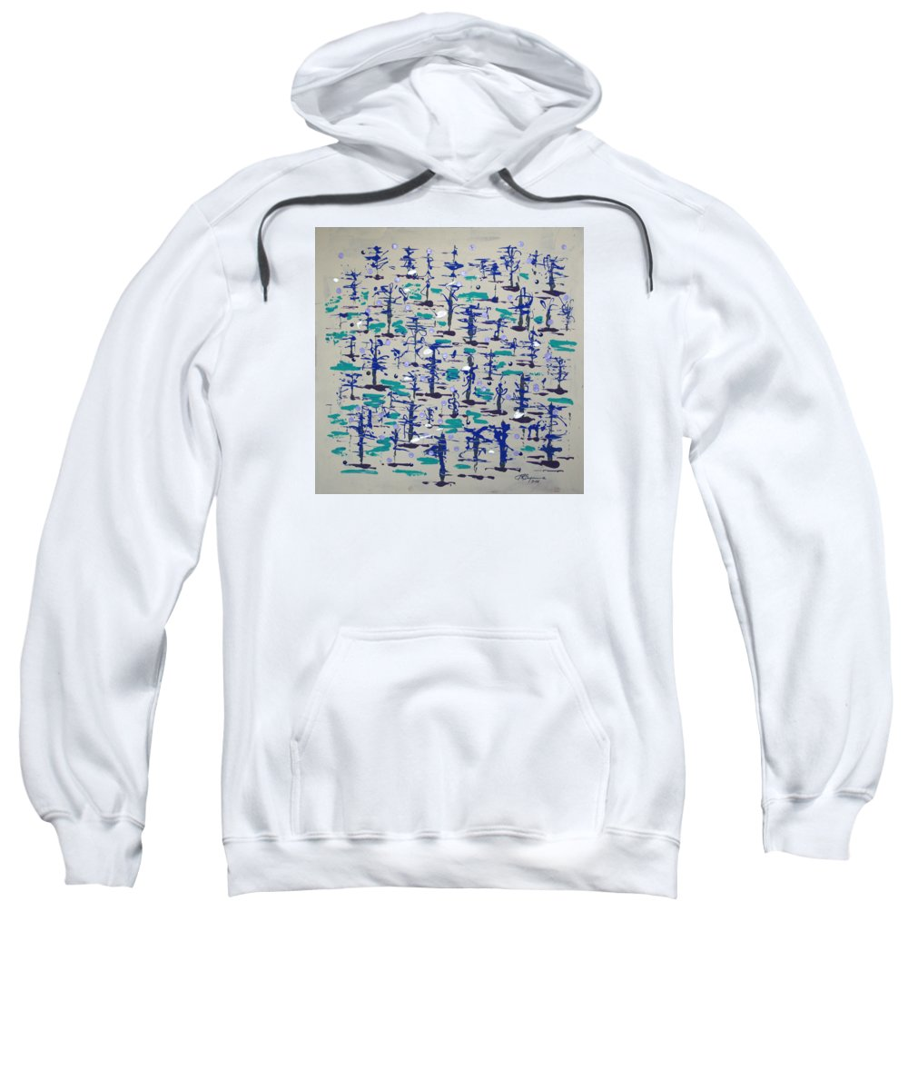 Abstract Sweatshirt featuring the painting Bare Trees by J R Seymour