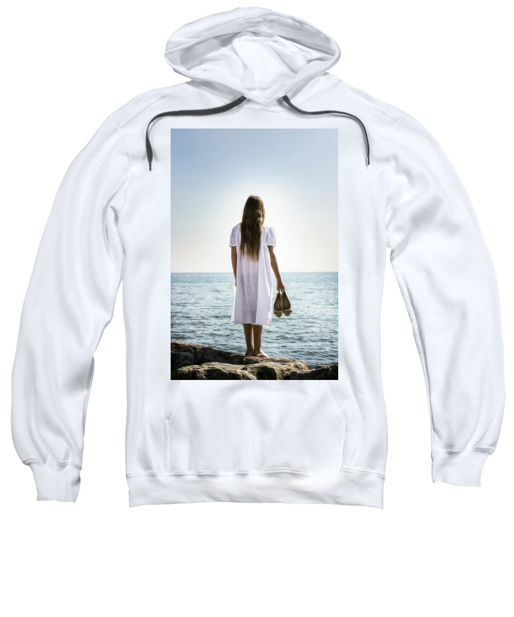 Girl Sweatshirt featuring the photograph Barefoot At The Sea by Joana Kruse