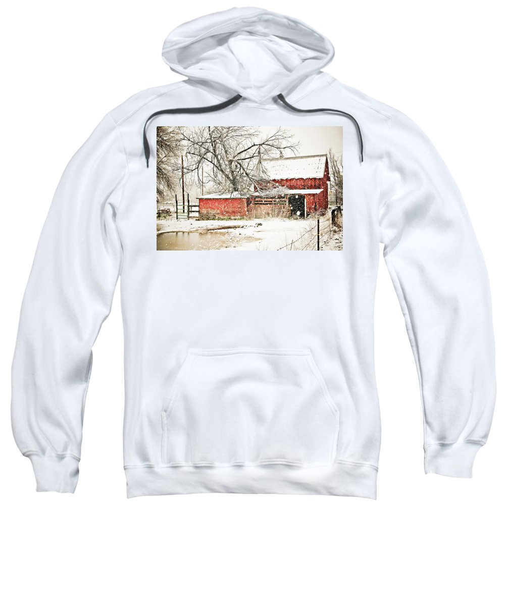 Americana Sweatshirt featuring the photograph Barn And Pond by Marilyn Hunt