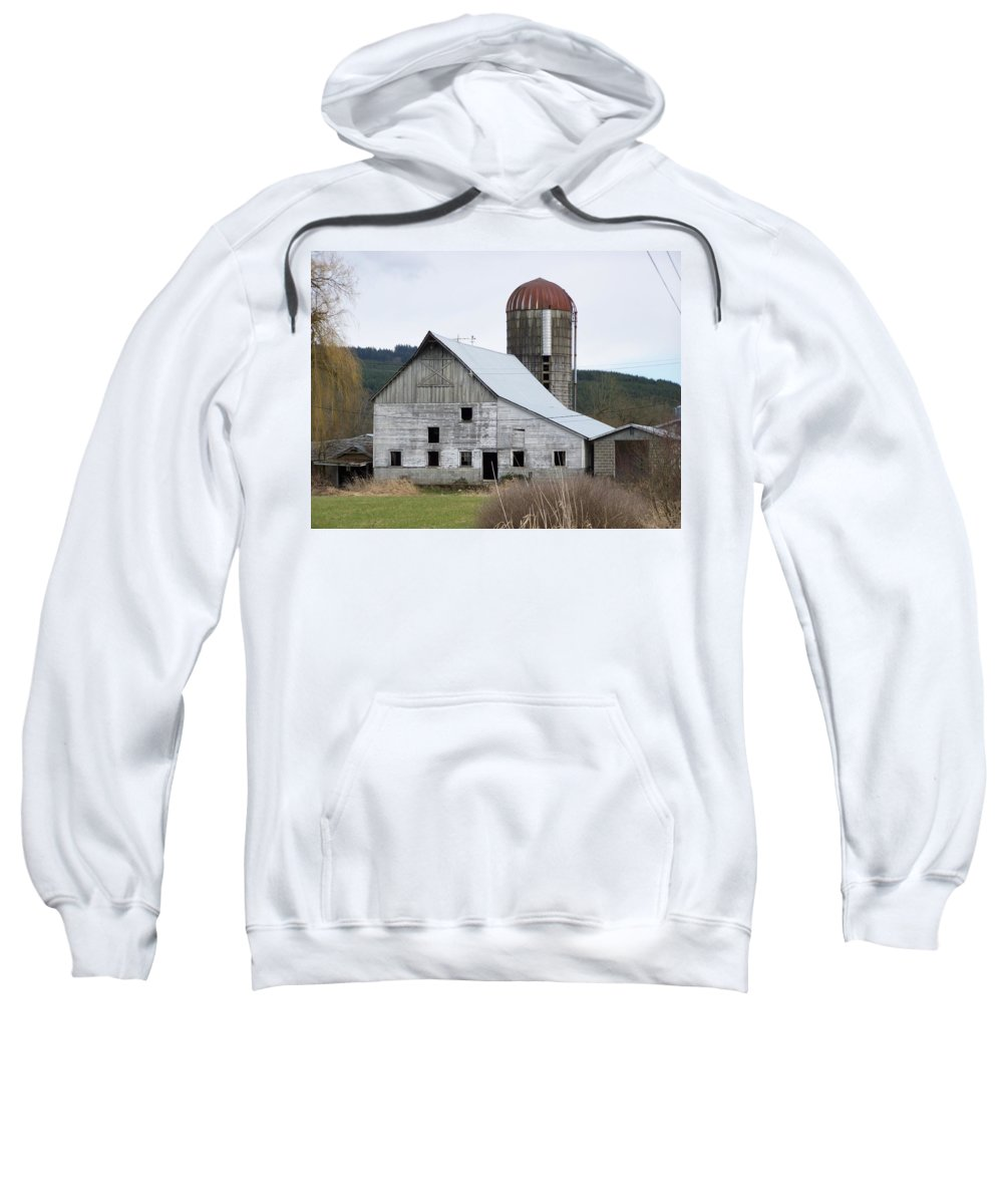 Digital Photography Sweatshirt featuring the photograph Barn And Silo by Laurie Kidd