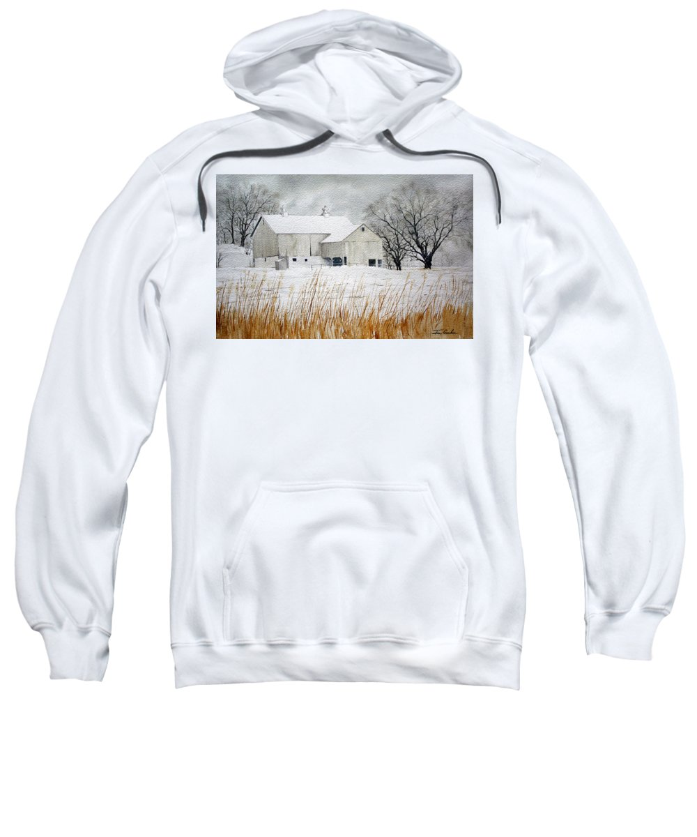 Barn Sweatshirt featuring the painting Barn In Winter by Jim Gerkin