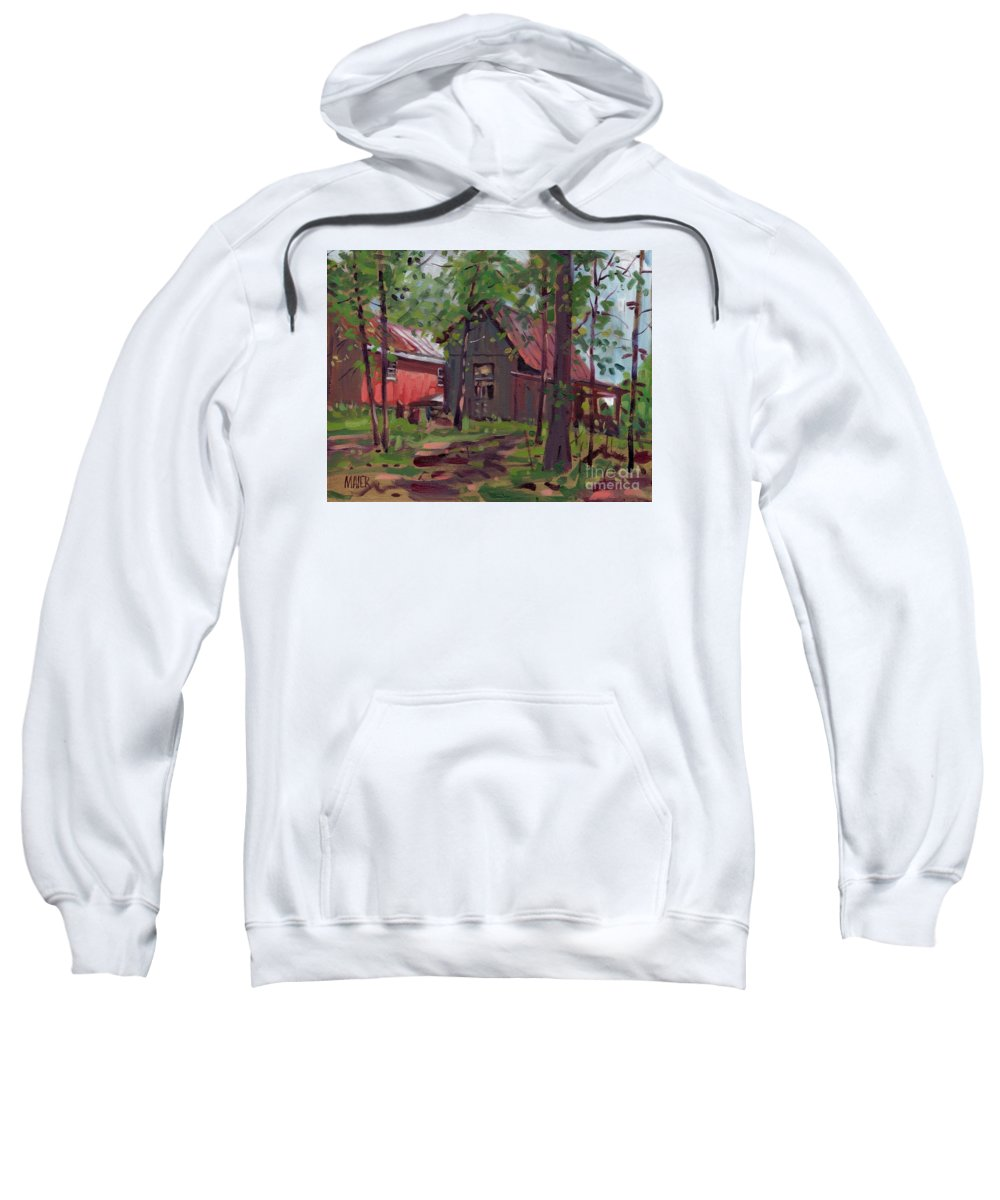 Barn Sweatshirt featuring the painting Barns In April by Donald Maier