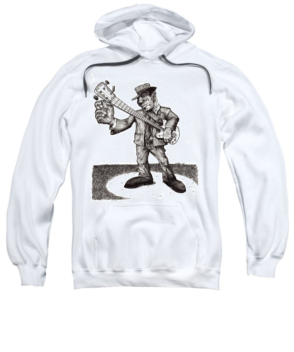 Blues Sweatshirt featuring the drawing Bass by Tobey Anderson