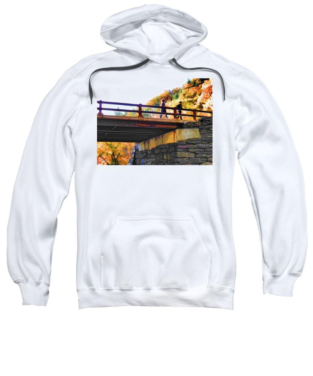 Bastion Falls Bridge Sweatshirt featuring the painting Bastion Falls Bridge 1 by Jeelan Clark