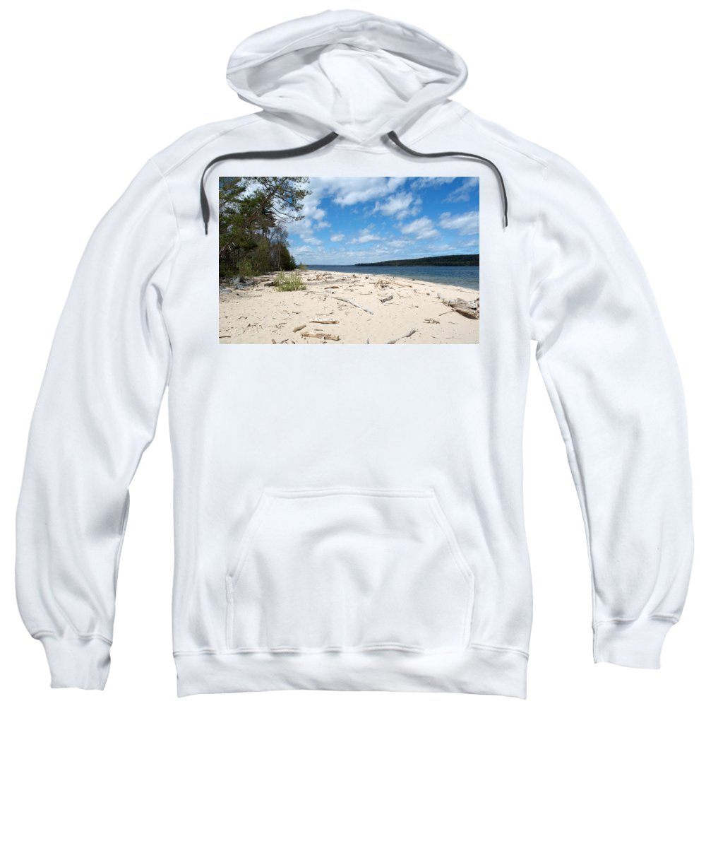 Lake Superior Sweatshirt featuring the photograph Beach And A Lake by Linda Kerkau