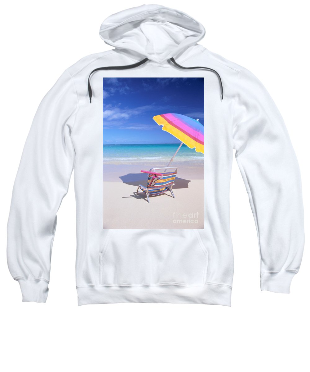 Afternoon Sweatshirt featuring the photograph Beach Chair by Bill Brennan - Printscapes