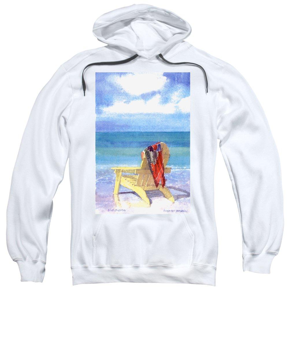 Beach Sweatshirt featuring the painting Beach Chair by Shawn McLoughlin