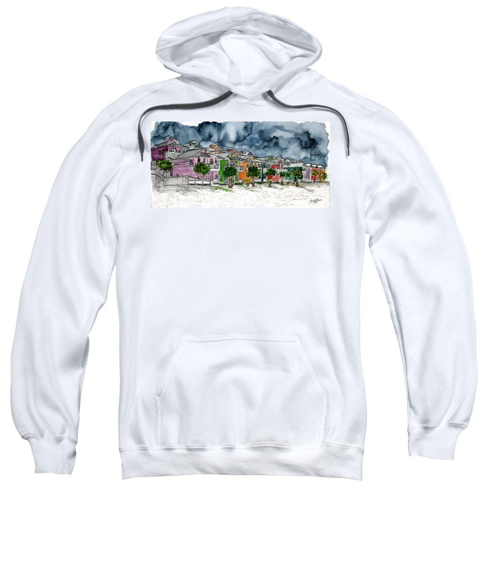 Watercolor Sweatshirt featuring the painting Beach Houses Watercolor Painting by Derek Mccrea