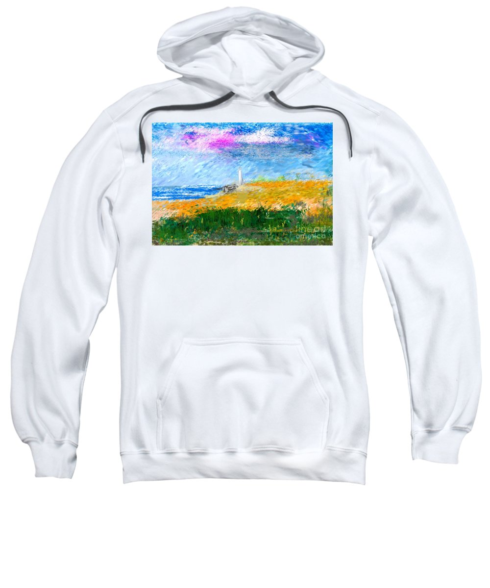Digital Painting Sweatshirt featuring the digital art Beach Lighthouse by David Lane