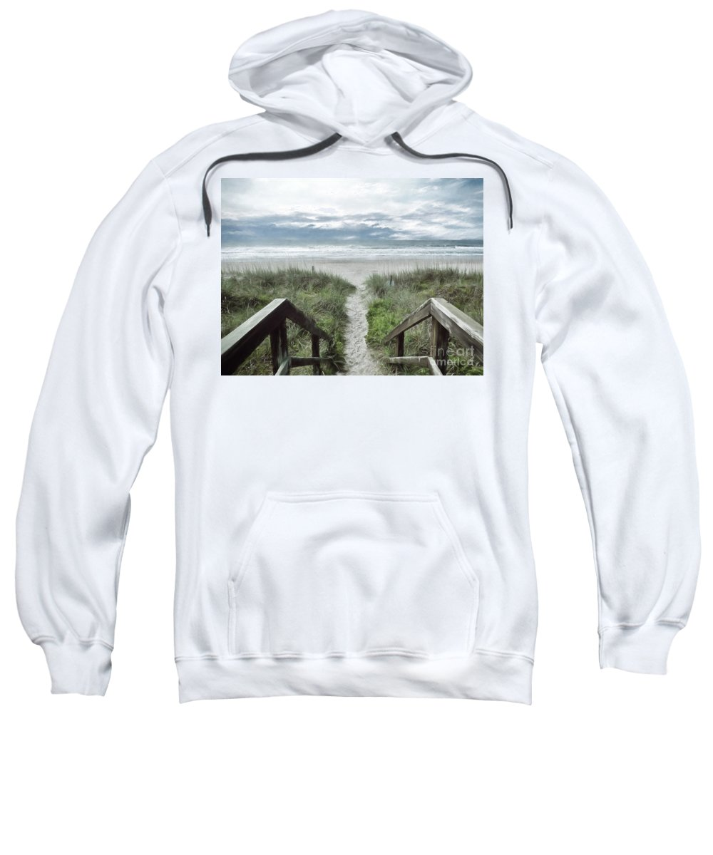 North Carolina Sweatshirt featuring the photograph Beach Path by Kelley Freel-Ebner