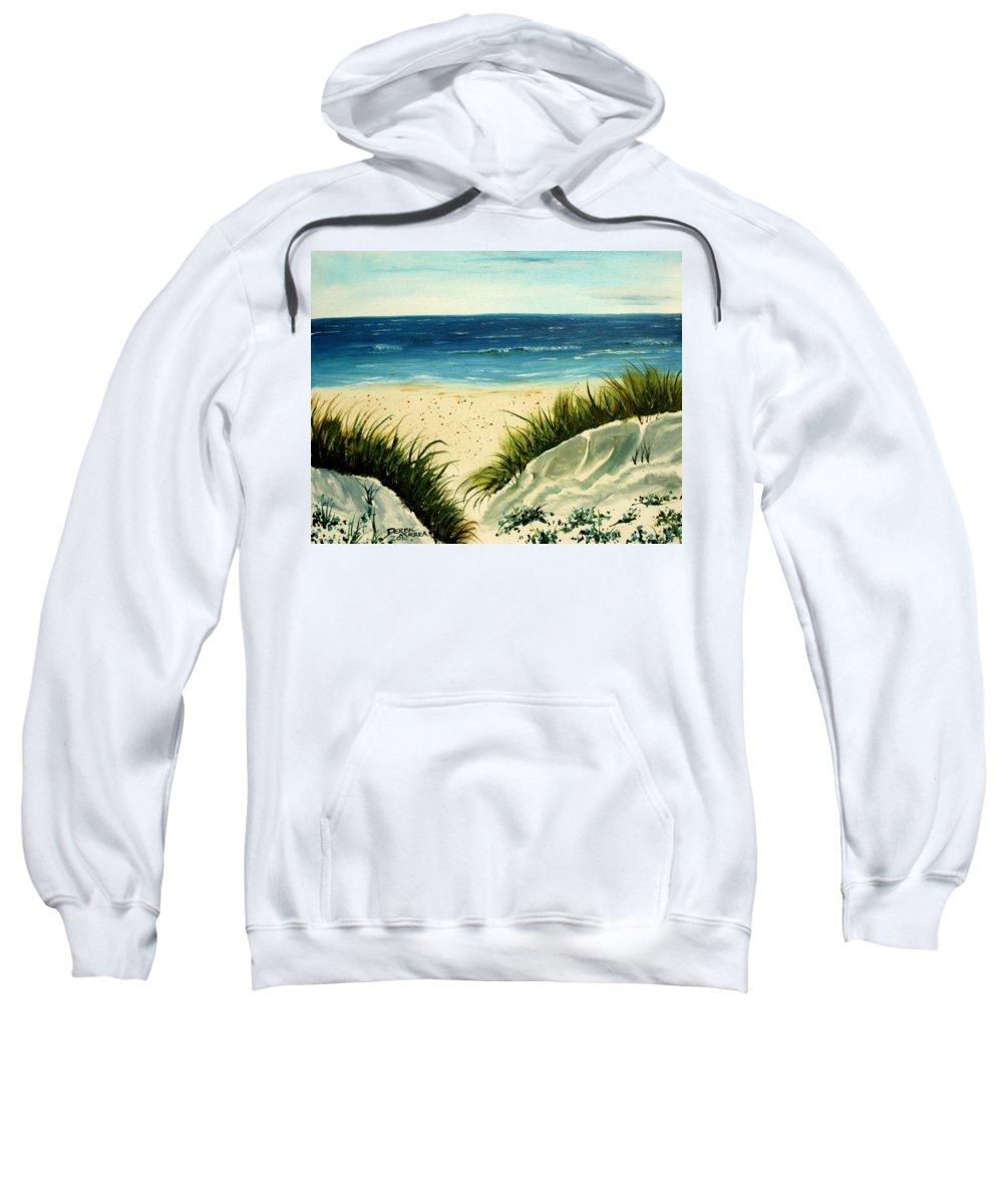 Beach Sweatshirt featuring the painting Beach Sand Dunes Acrylic Painting by Derek Mccrea