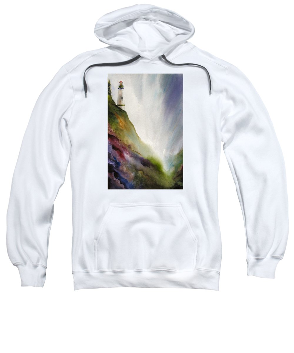 Lighthouse Sweatshirt featuring the painting Beacon by Karen Stark