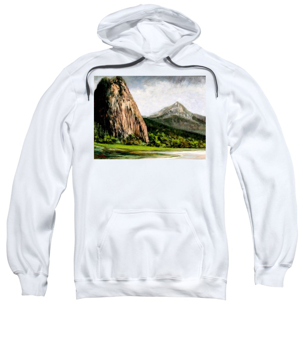 Landscape Sweatshirt featuring the painting Beacon Rock Washington by Jim Gola