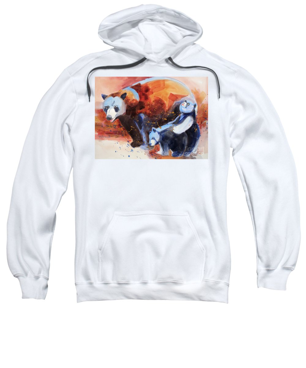 Paintings Sweatshirt featuring the painting Bear Family Outing by Kathy Braud