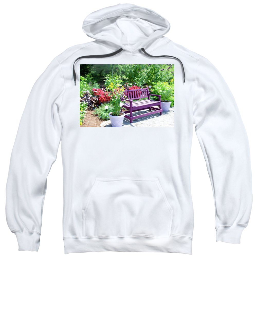 Bench And Containers Sweatshirt featuring the painting Beautiful Spot For Relaxing 4 by Jeelan Clark
