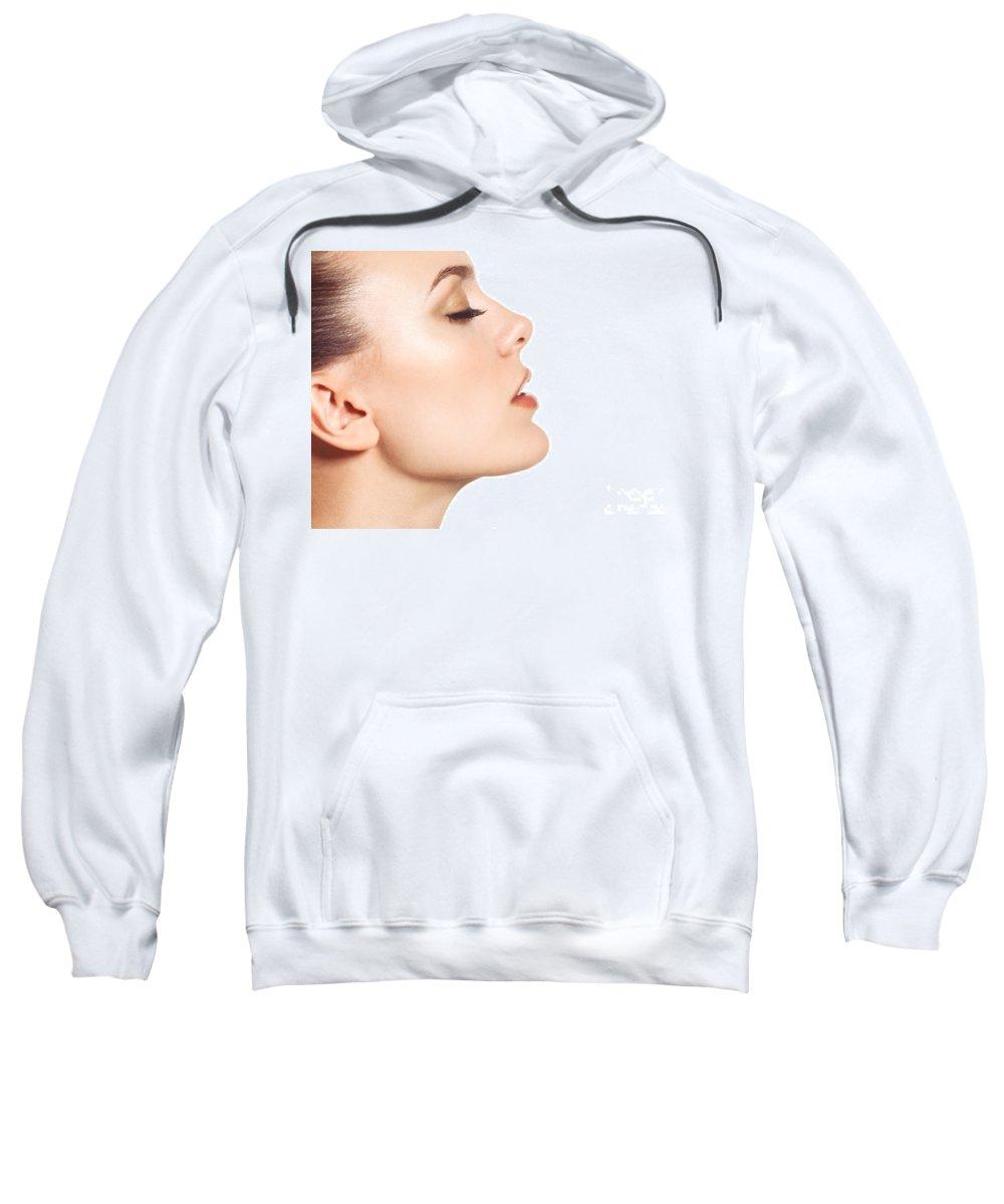Beauty Sweatshirt featuring the photograph Beautiful Young Woman Face Profile Closeup by Oleksiy Maksymenko
