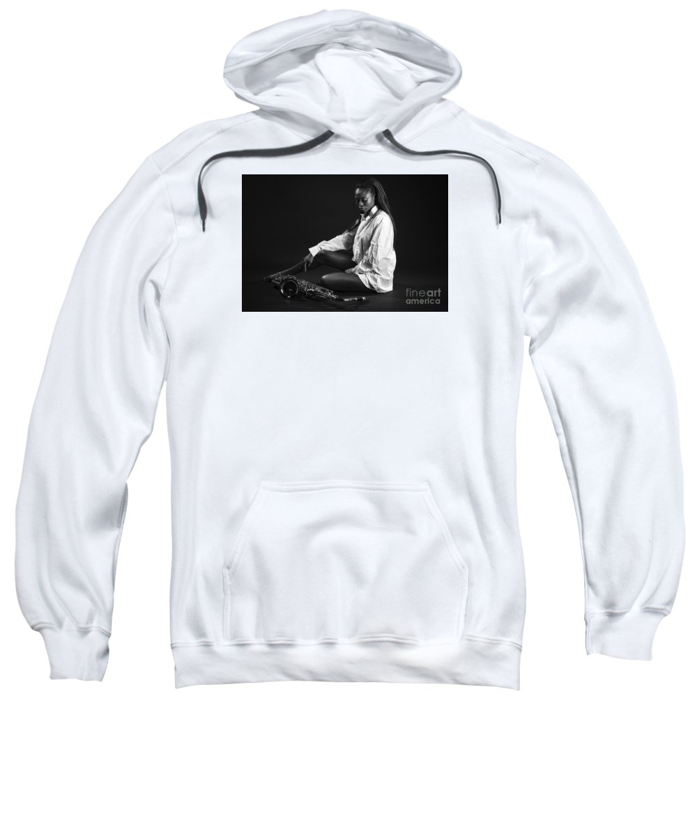 African Sweatshirt featuring the photograph Beauty With Sax by Lasse Ansaharju
