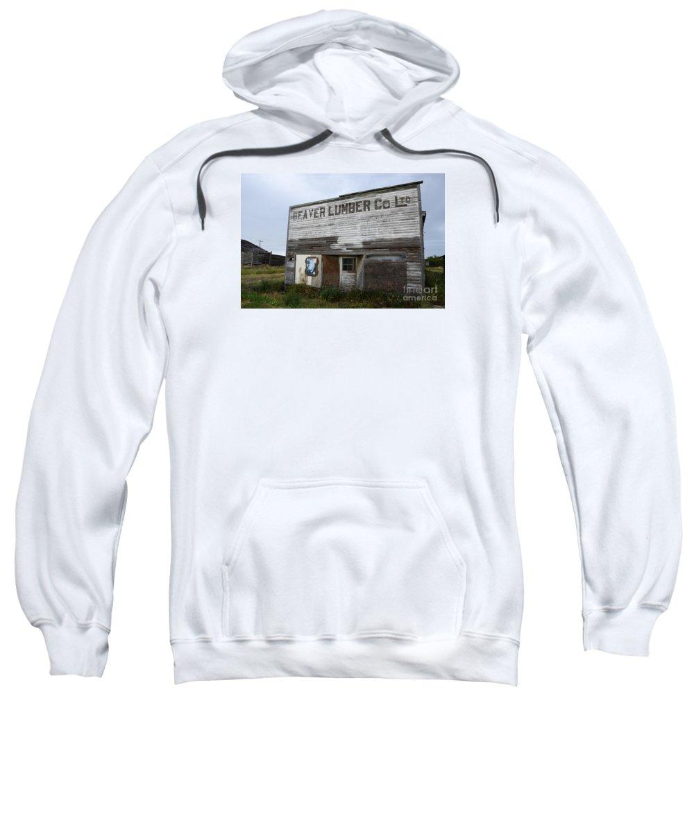 Beaver Sweatshirt featuring the photograph Beaver Lumber Company Ltd Robsart by Bob Christopher