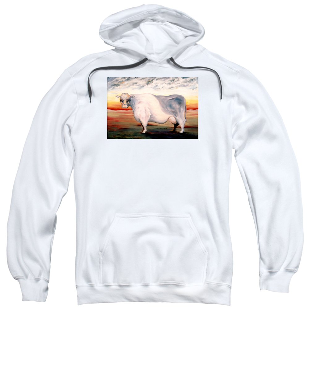 Cow Sweatshirt featuring the painting Beef Holocaust II by Mark Cawood