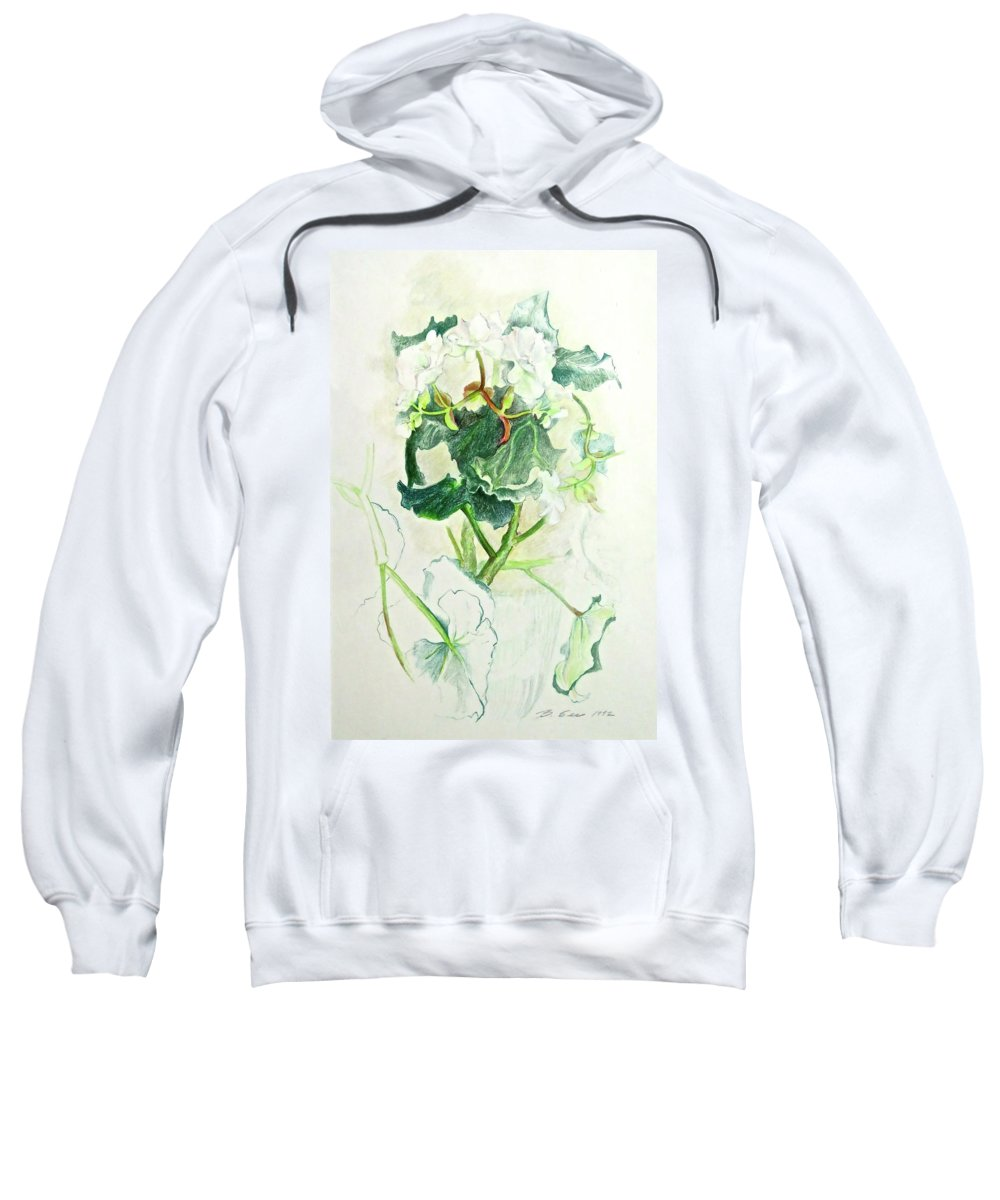 Botanical Study Sweatshirt featuring the drawing Begonia Ballet by Bonnie See