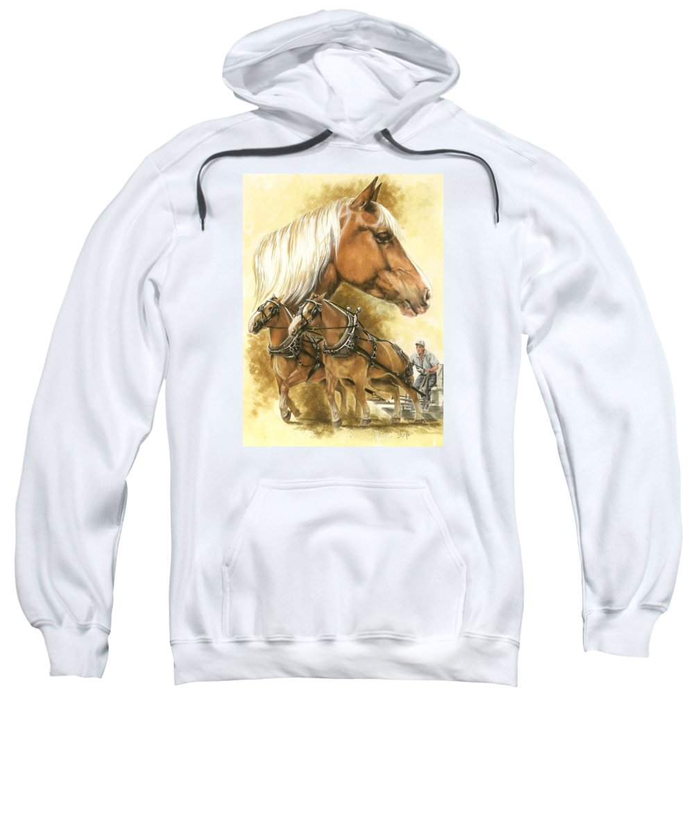 Equus Sweatshirt featuring the mixed media Belgian by Barbara Keith