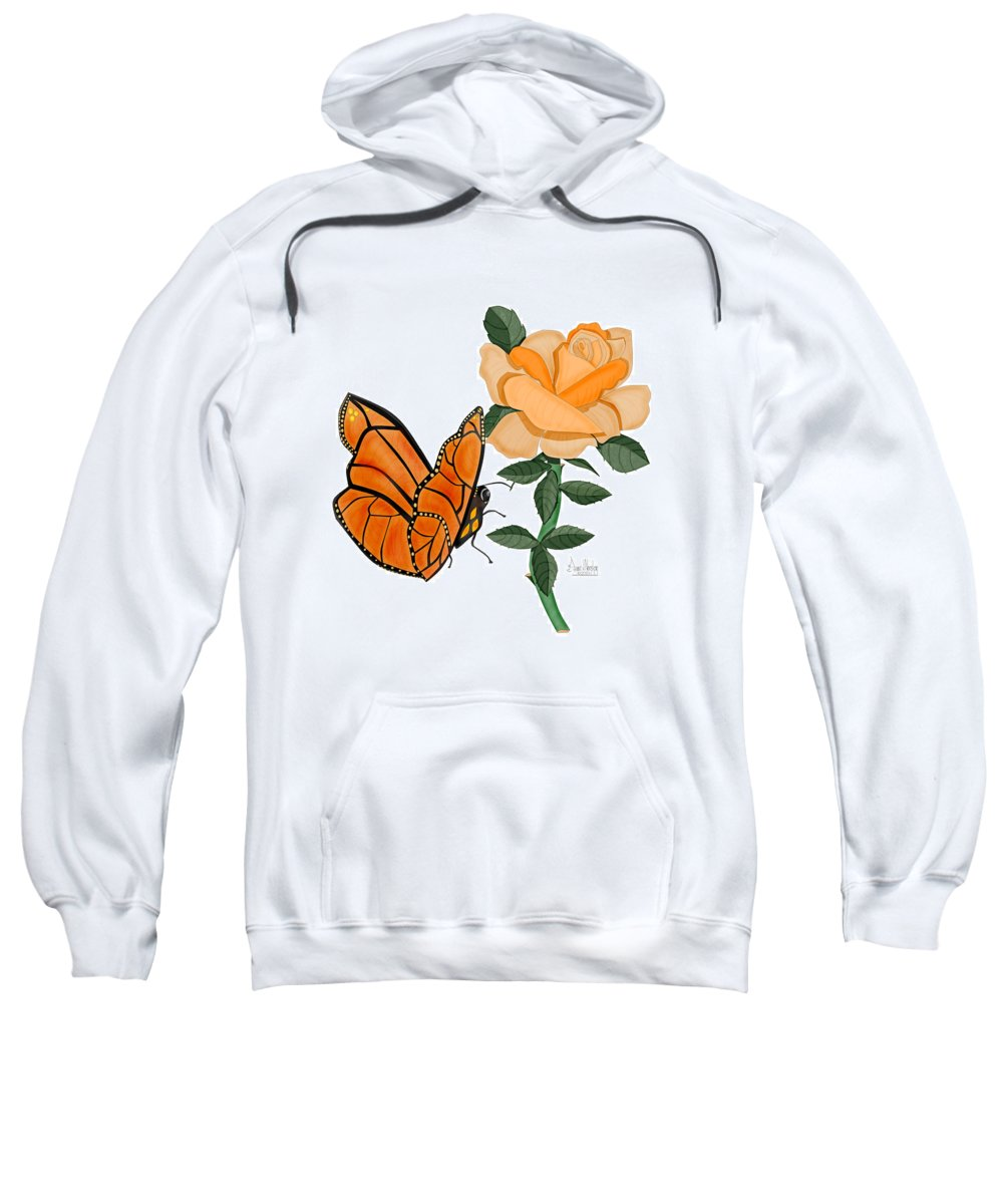 Butterfly Sweatshirt featuring the painting Belle And Flower by Anne Norskog