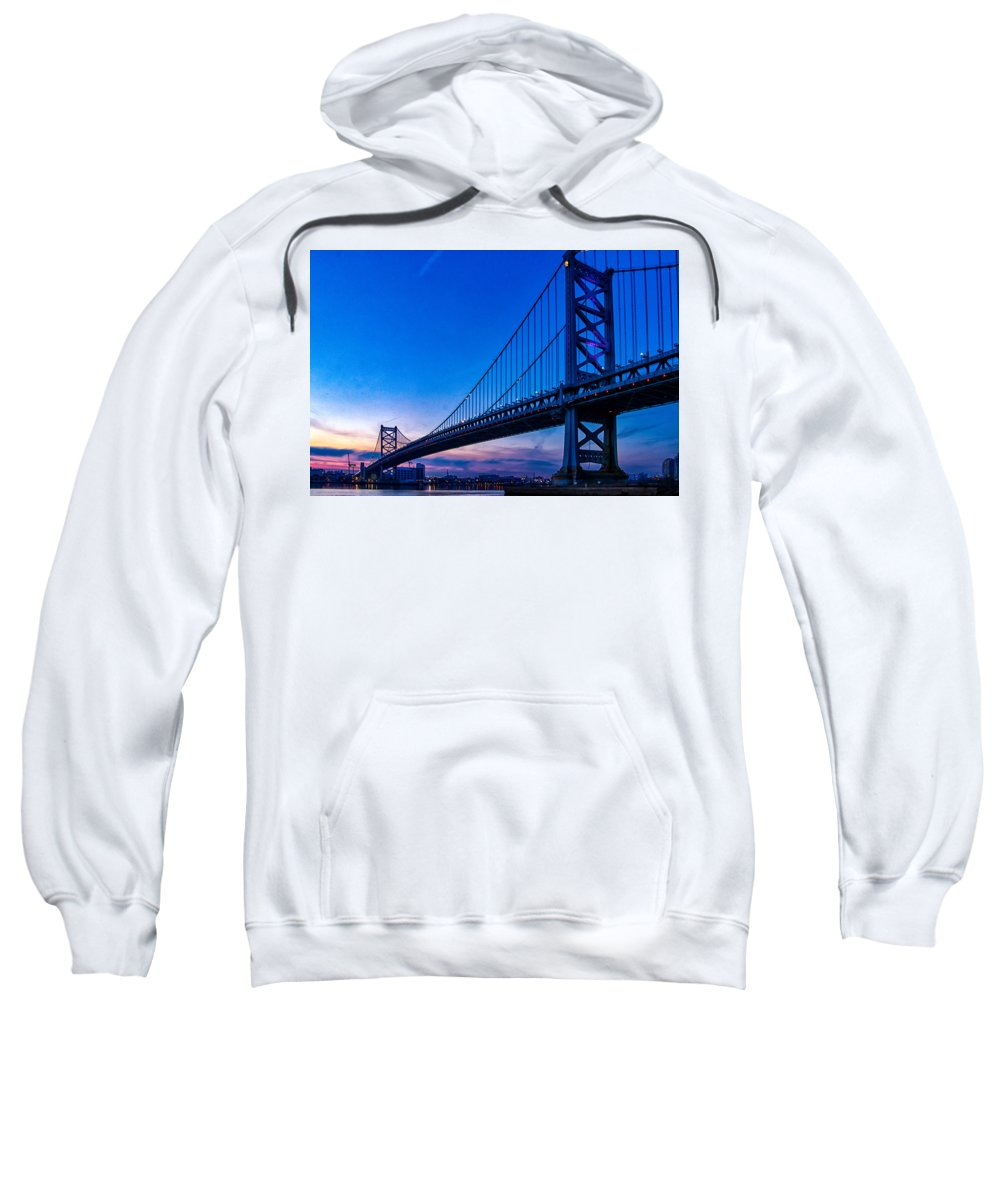 Ben Franklin Bridge Sweatshirt featuring the photograph Ben Franklin Bridge At Sunset by Carol Ward