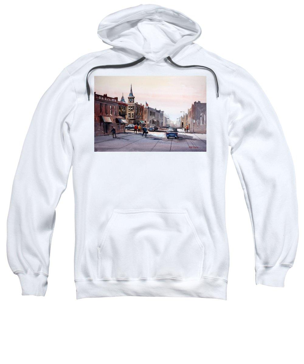Street Scene Sweatshirt featuring the painting Berlin - Main Street by Ryan Radke