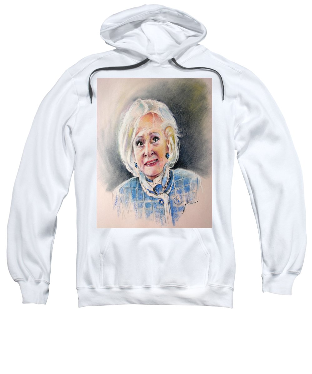 Betty White Sweatshirt featuring the painting Betty White In Boston Legal by Miki De Goodaboom