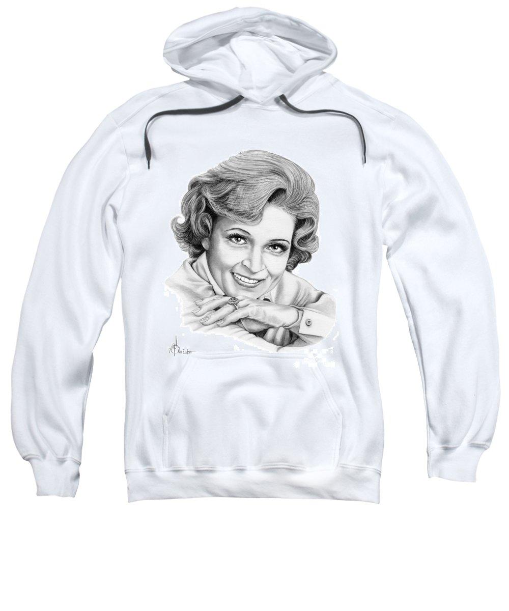 Drawing Sweatshirt featuring the drawing Betty White by Murphy Elliott