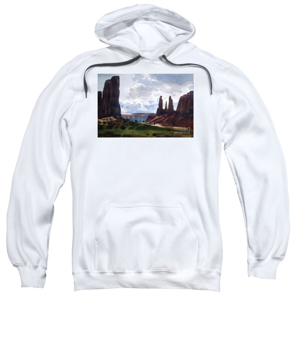 Three Sisters Sweatshirt featuring the painting Between The Buttes by Donald Maier