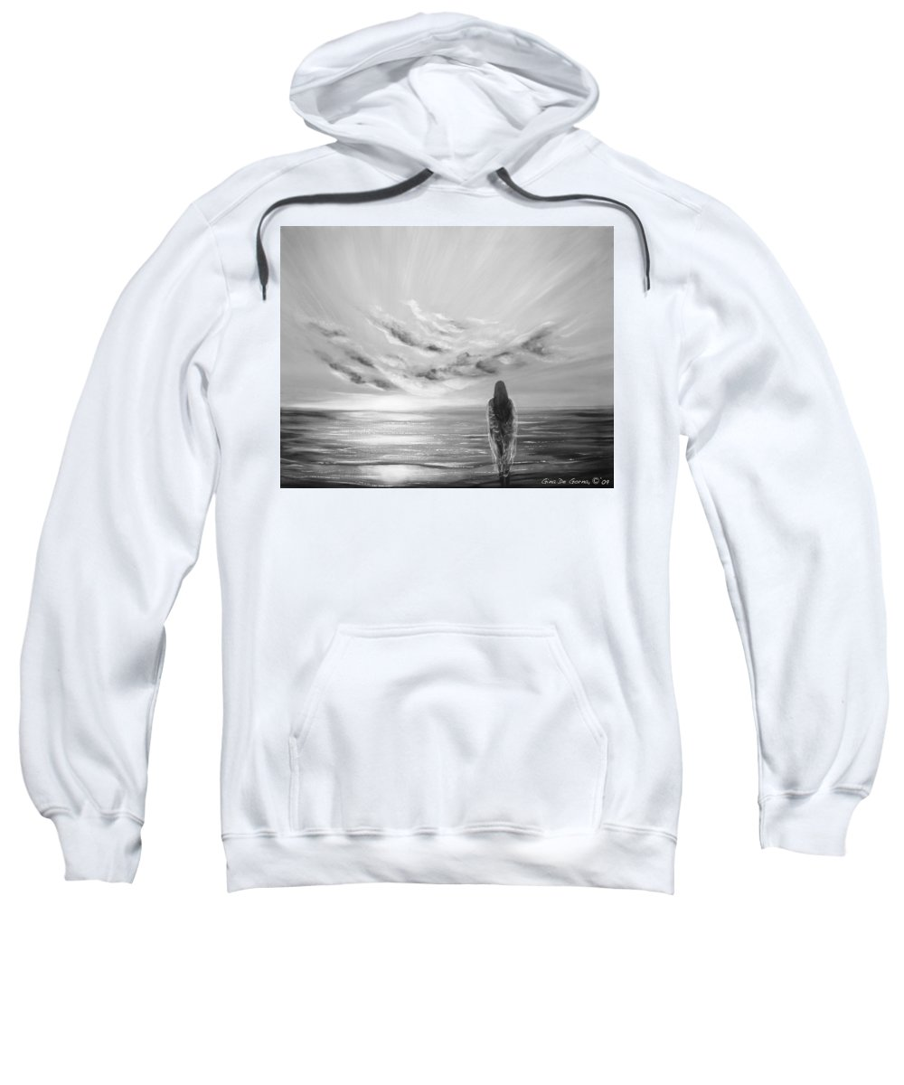 B&w Sweatshirt featuring the painting Beyond The Sunset Black And White by Gina De Gorna