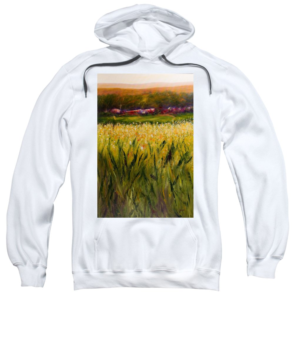 Landscape Sweatshirt featuring the painting Beyond The Valley by Shannon Grissom