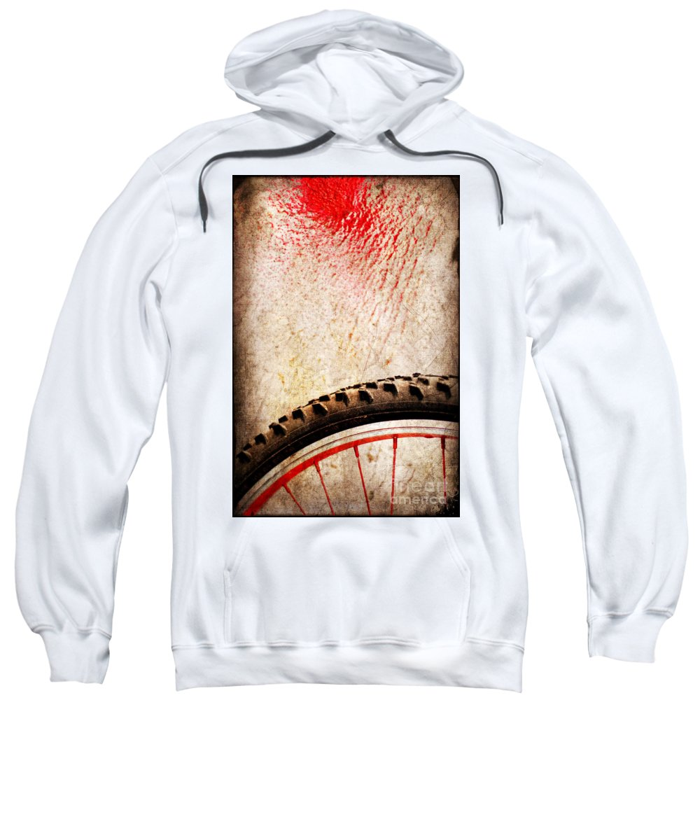 Abstract Sweatshirt featuring the photograph Bike Wheel Red Spray by Silvia Ganora