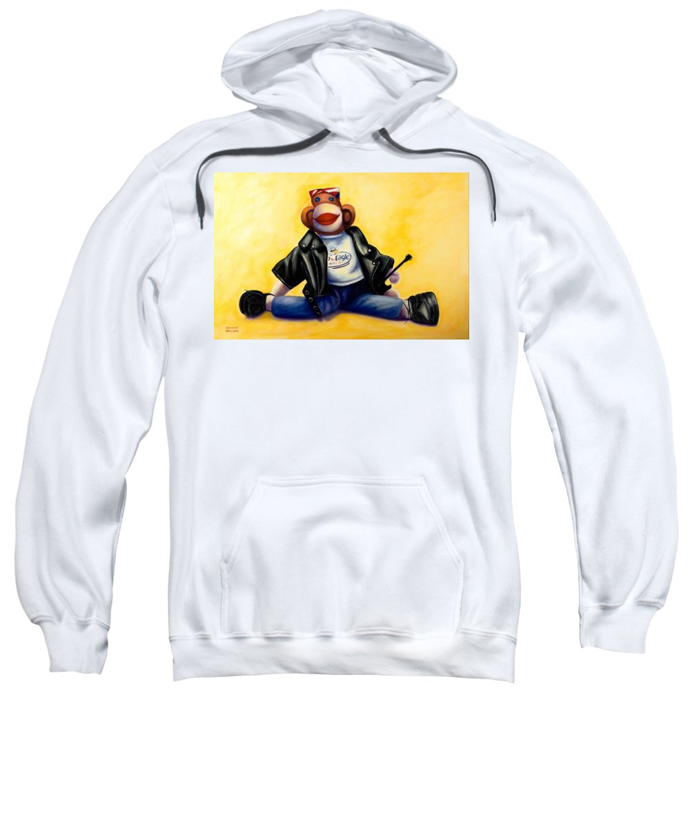 Sock Monkey Brown Sweatshirt featuring the painting Biker Dude Made of Sockies by Shannon Grissom