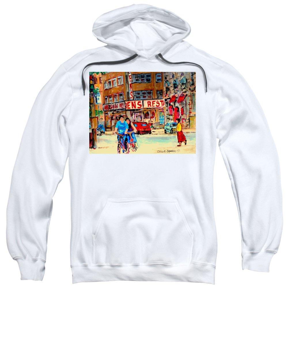 Montreal Sweatshirt featuring the painting Biking Past Ben by Carole Spandau