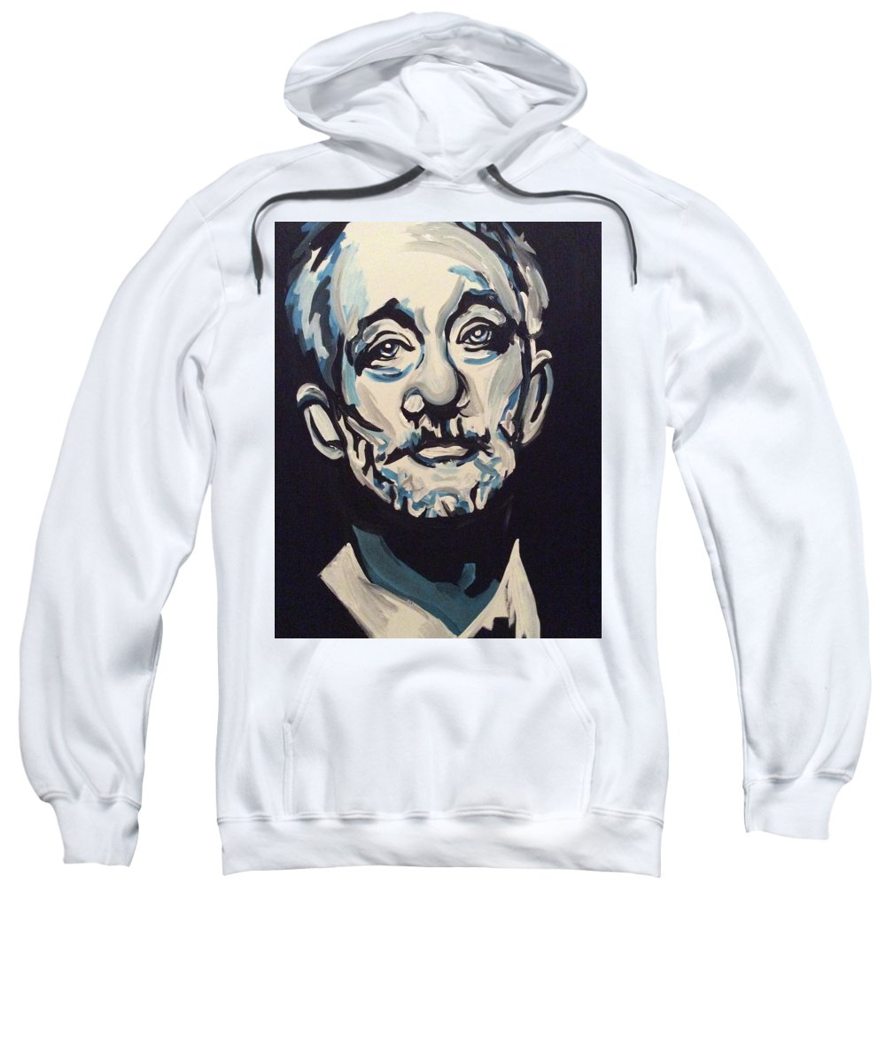 Celebrity Kcco Chive Bill Murray Black White Blue Hue Portrait Famous Sweatshirt featuring the painting Bill Murray by Lori Teich