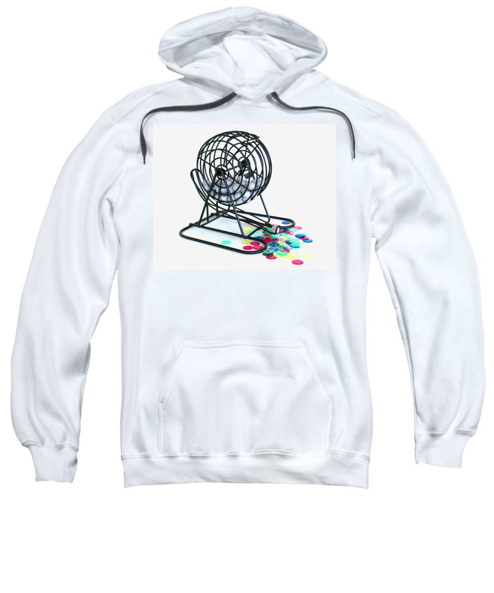 Bingo; Ball; Keno; Balls; Random; Cage; Rotate; Rotating; Drawn; Draw; Caller; Cheat; Cheating; Card Sweatshirt featuring the photograph Bingo Cage by Allan Hughes