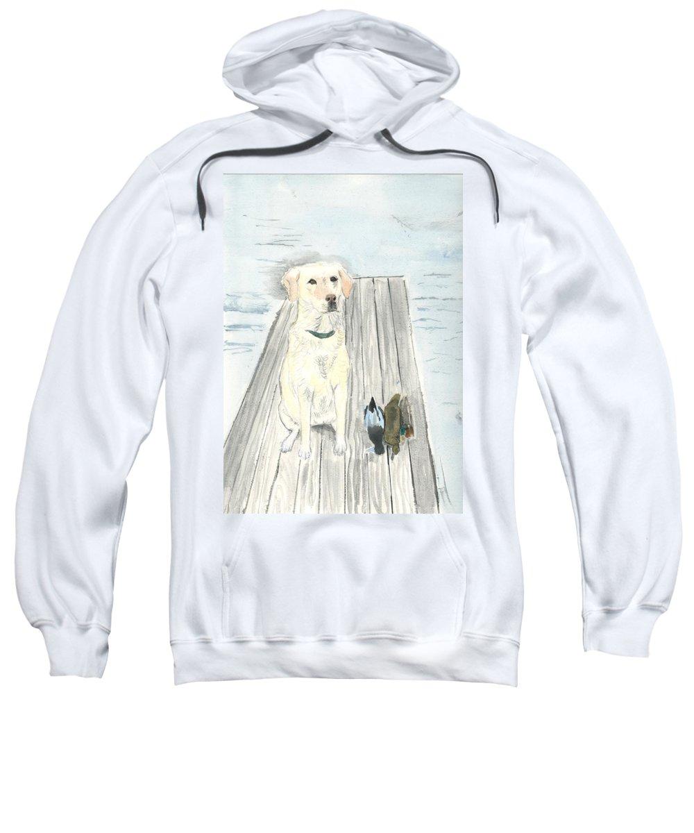 Daisy Sweatshirt featuring the painting Bird Dog by Sara Stevenson